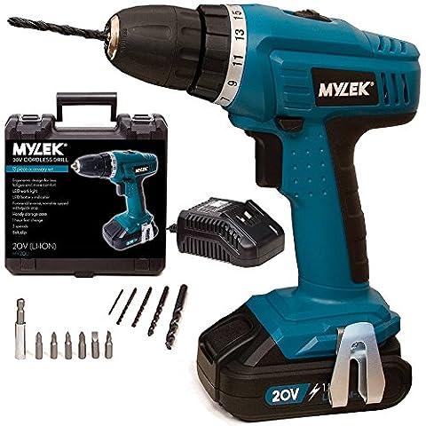 MYLEK® 20V Cordless Li-ion Drill with LED Work Light &