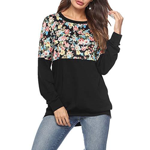 Discount Boutique Pullover Frauen Print Rundhals Pullover Langarm Shirt Colorblock Sweatshirt Beiläufiges Loses Shirt -