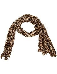 Calonice Amorino Frauen Accessoire hellbraun im Leopardenfell, transparentes Muster extra langer Schal, Eine Größe 165x0.1x55 cm (BxHxT) 24100
