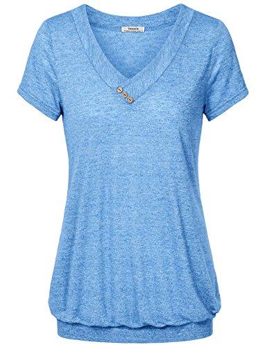 Youtalia Frauen V-Ausschnitt, Leichte Kurze Ärmel T-Shirt Gefaltete Lässige Bluse/Top Blau XXL (Verbergen Und Tragen Jacke)