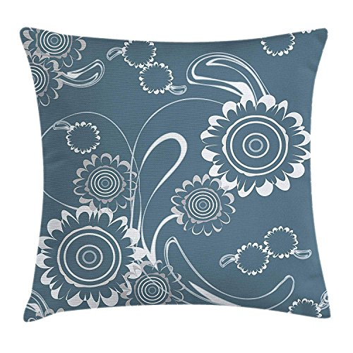 ow Cushion Cover, Abstract Blossoming Petals with Abstract Swirls Romantic Flowers, Decorative Square Accent Pillow Case, 26 X 26 Inches, Slate Blue Grey and White ()