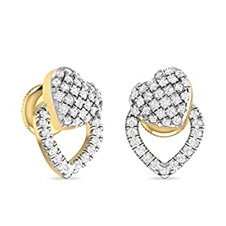 PC Jeweller The Ulka 18KT Yellow Gold and Diamond Stud Earrings for Women