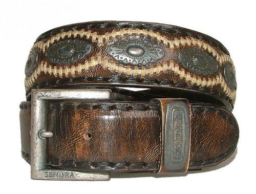 Denver Leder Gürtel (Sendra Leder Gürtel 7606 braun-antik, Länge:90 cm)