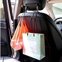 Levon Stainless Steel Car Holder-Hanger for Bags | Car Vehicle Headrest Hook - 2 | with Anti-Rust Nano Coating