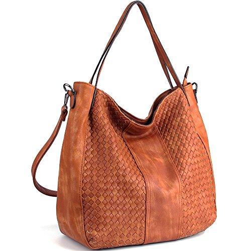 CASELAND Damen Handtaschen Cross-body Schultertaschen Umhängetaschen Hobo Henkeltaschen PU Leder Große Weave Taschen (L:45cm * H:35cm * W:13cm) Braun