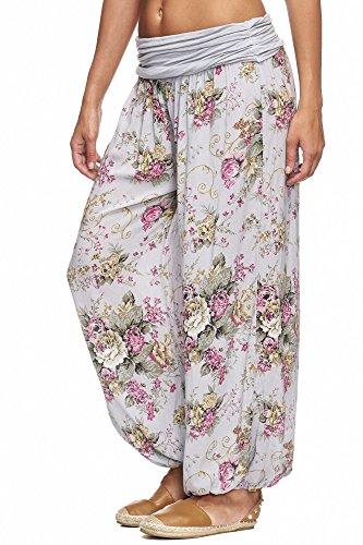 JillyMode -  Pantaloni  - Donna A1120-Blumen2-Hellgrau