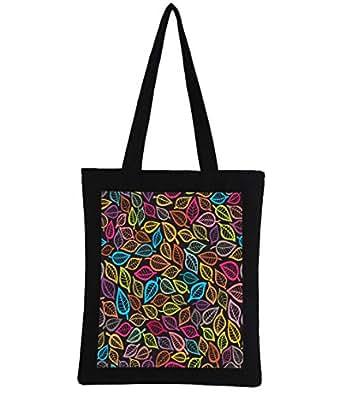 Snoogg Multicolor Leaves Digitally Printed Utility Tote Bag Handbag Made Of Poly Canvas