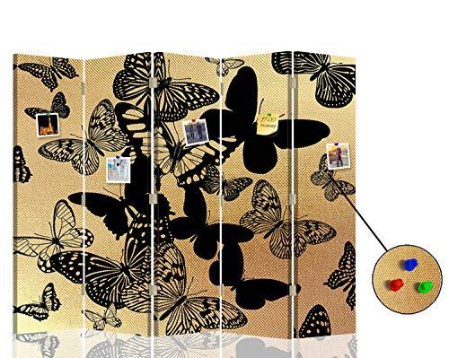 F FEEBY WALL DECOR Trennwand Pinnwand Schmetterlinge Paravent 5-teilig beidseitig Gold 180x175 cm