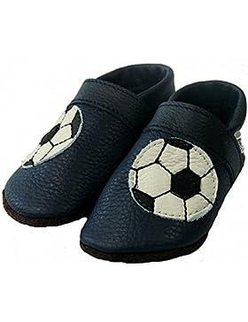 Mopu's® Krabbelschuhe - Lederpuschen in dunkelblau mit Fussballmotiv - handgemachte Markenqualität aus Deutschland