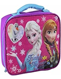 New For 2015 Official Disney Frozen Elsa Anna Olaf Glittery Front Insulated School Lunch Bag