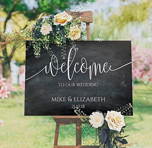rylryl Herzlich Willkommen auf unserer Hochzeit Zeichen Vinyl Aufkleber aus Holz personalisieren Braut Bräutigam Namen Wandaufkleber rustikale Hochzeit Decoration42x24cm