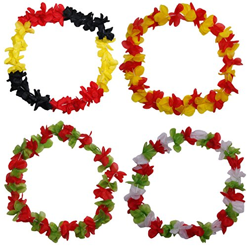 Collar-hawaiano-Flores-Cadena-hawaiiketten-EM-2016-Francia-de-ftbol-Fan-Artculo-Hawaii-cadena-flor-collar-bumen-collares-Bandera-de-alemania