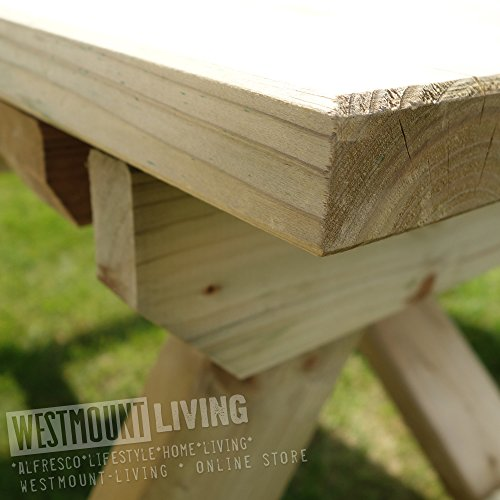 LARGE PUB PICNIC BENCH TABLE - 8 SEATER 6FT WOODEN GARDEN OUTDOOR FURNITURE BY WESTMOUNT LIVING