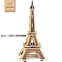 O-Aesir 3D DIY Wooden Puzzles Eiffel Tower Model Toy and Hobby for Kids