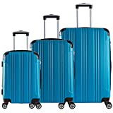 EUGAD #375 Reisekoffer Hartschale Koffer Trolley mit erweiterbare Volumen, Reise Koffer Trolley 4 Rollen, Hartschalenkoffer Handgepäck M/L/XL/Set, leicht und günstig, Türkis 3er Set (M+L+XL)