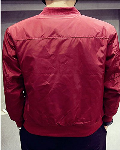 Homme Manches Longues Fermeture Éclair Couleur Unie Décontracté Vestes Rouge