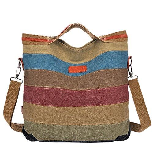 f372b4590b7dc Handtasche Schultertasche Damen Canvas Shopper Umhängetaschen  Schulterträger Mehrfarbige Streifen