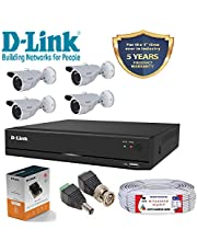 D-Link 4 Channel CCTV KIT 1MP 4PCS Bullet with All Accessor