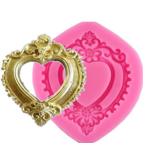 Vintage Love Herz Form Spiegel 3D Rahmen Silikonform Schokolade Dekoration Formen - Schokoladen-rahmen