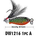 XU-XINGFU, 1pz Bagattelle di Metallo con Petalo Rotante Esca da Pesca Paillettes dure con Bass Piuma VIB Attrezzatura da Pesca (Color : 1, Size : 25mm)