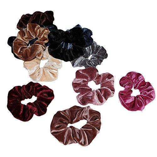 Set di 12 Elastic Velvet per capelli Kurtzy - Colori assortiti ... 5e84f0f6d23b