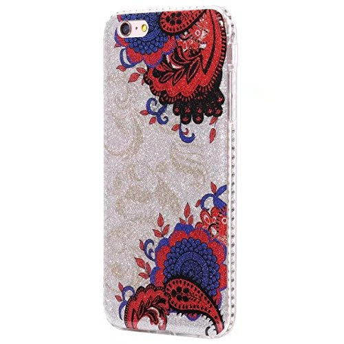 EKINHUI Case Cover Bling Sparkle Glitter Rhinestone Resin Diamant Schützende Rückseite Cover Case Soft TPU Shell Stoßfänger [Shock Absorbtion] für iPhone 6 Plus & 6s Plus ( Color : A ) A