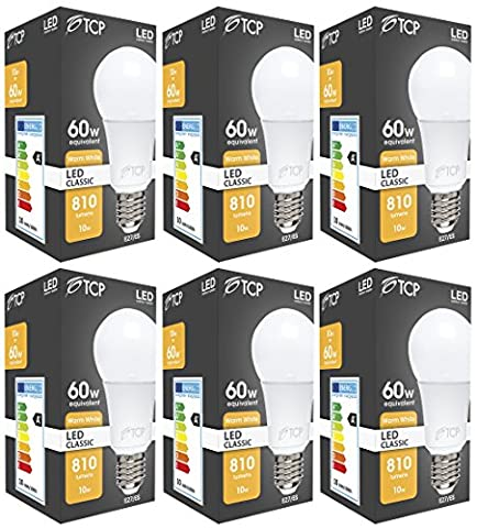 6 Pack TCP 10W E27 LED Bulb GLS Edison Screw LED Lights, Ultra Bright 810 Lumen,2700K Warm White, 230° Beam Angle, replaces old 60-70W A60 Globe Bulbs