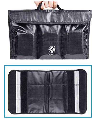 Feuerbeständige LiPo-Akku-Tasche - Faltbar - 6 Fächer - Für sichere Ladung und sicheren Transport - Bis zu 6 LiPo Akkus Aufbewahren und Organisieren - Ideale Lösung für Flugzeuggepäck