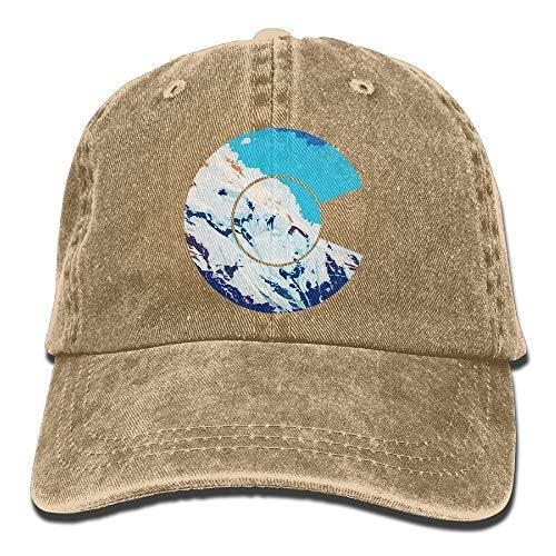 errterfte Unisex Adult Colorado C Flag Mountain Sky Washed Denim Retro Cowboy Style Baseball Cap Sun Hat Trucker Cap Dad Hats Personalized Hat Comfortable Adjustable