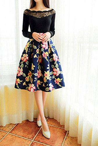 Minetom Damen Vintage Sommer Knielang Rock Blumenmuster A Line Blumen Rock Elegant Sexy Kleid ( Rot EU M ) -