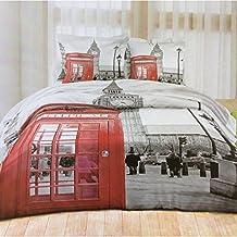 Funda nórdica con fantasías de la ciudad de Londres (cabina telefónica, Big Ben,