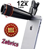 Zebrics 12X Telescope Camera Lens for Smartphone (Black)