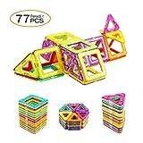 Peradix Super Magnetische Bausteine Bauklötze Konstruktionsbausteine Lernspielzeug Bunt 77PCs für Kinder ab 3 Jahre