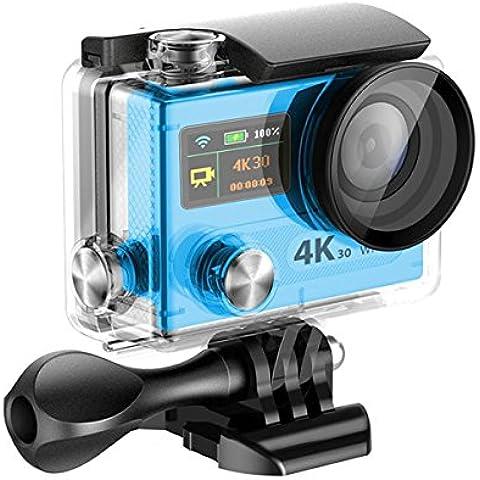 Topjoy H8R 2.0 Pulgadas LCD + 0.95 'Sony IMX078 LED Doble Pantalla 4K Ultra HD 16MP WIFI Cámara Impermeable de Deportes 170 Grado 6G Ultra Wide Angle Lens Wi - Fi con control remoto + Control remoto extra (Azul)