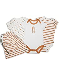 The Essential One - Lot de 3 Bodys/ Barboteuses / Body bébé Unisexe Orange - ESS141