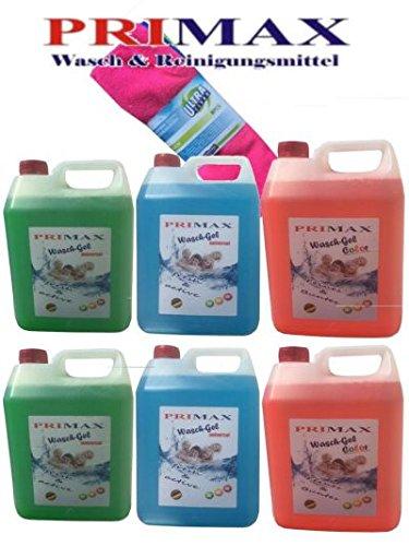 Primax Set 14 bestehend aus 2 x 5 Ltr. Flüssigwaschmittel blau und 2 x grün + 2 x 5 Ltr. Colorwaschmittel orange + Microfasertuch gratis