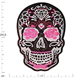 Écusson brodé Crâne Tête de Mort Rose - 24.5 cm X 17 cm Grande taille XL - Pink Black Skull Patch Iron on Patches Sew on Ecussons Imprimés Thermocollants Appliques Applications Sur Vêtements Sac à dos Veste Jeans Chapeau Hoodie – Treasure-Quest