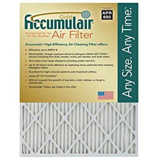 Accumulair Gold 17.5x22x1 (Actual Size) MERV 8 Air Filter/Furnace Filter (2 Pack)