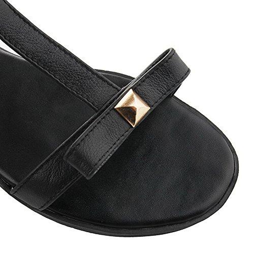 AalarDom femme Ouverture D'Orteil à Talon Bas Pu Cuir Couleur Unie Boucle Sandales Noir