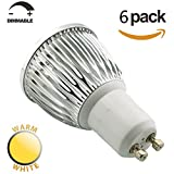 SmartSun Dimmable Long Neck GU10 6W LED Spotlight Beautiful 3000K Warm White Bulb 50W Halogen Equivalent,60°Beam Angle,Ultra Bright LED Light Bulbs,For Ceiling Lighting,Tracking Lighting or Recessed Lighting,Pack of 6