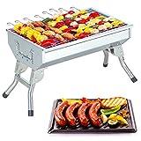 Cowekai BBQ Tischgrill Reisegrill Minigrill Campinggrill Holzkohlegrill Kleiner Tisch Classic Barbecue Grill 44×27×26Edelstahl Holzkohle BBQ Grill für Camping Tailgating und Picknick