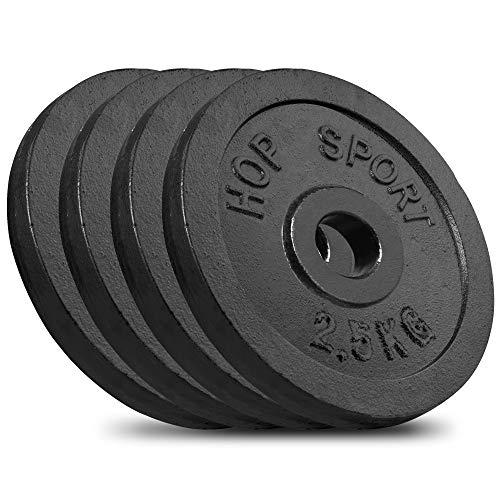 Hop-Sport Hantelscheiben 5kg 10kg 20kg 30kg 40kg Guss Gewichte Hantel Set Gewichtsscheiben 30mm (4 x 2,5 kg)