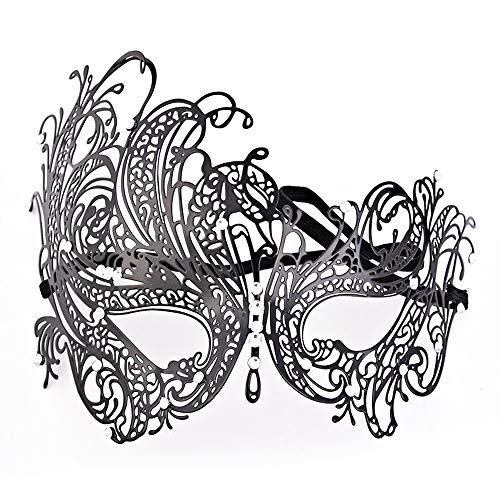 Comfot Damen Sexy Metall Laser Cut Maske Venezianischen Ausgehöhlten Maske Für Halloween Frau Masquerade Ball Schwarz/Strass