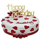 BABEYOND Tortenaufsatz Geburtstag Kuchen Topper Gold Happy Birthday Muster Hölzerne Geburtstagstorte Dekorieren Kerze Alternative Kuchen Deko