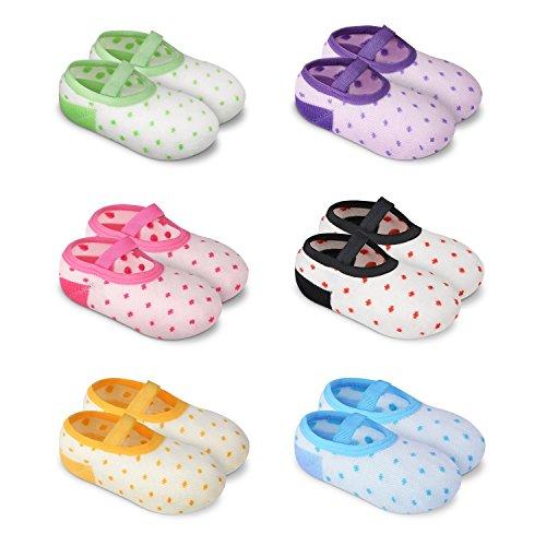 Anti Rutsch Baby Socken, Isuper 6 Paar Multifarbe Rutschfeste Schuhe aus Komfortabelem und Atmungsaktivem Material für Kinder von 6 - 24 Monaten -