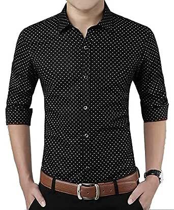 "ZAKOD Men's Polka Print Full Sleeve Slim Fit Semi Formal Shirts for Men100% Cotton Shirts,Colour and Size Choose According 4 Colour Available M=38"",L=40"",XL=42"" (Black, Small)"