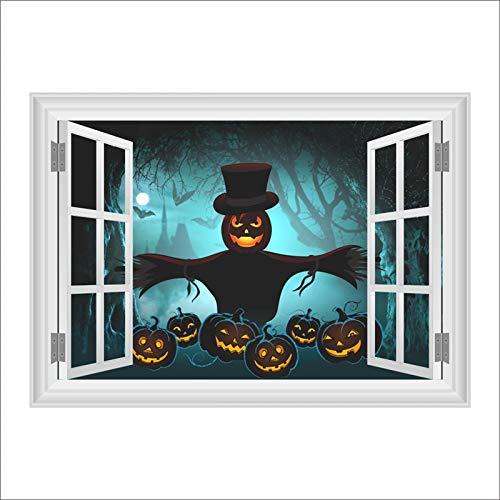 QTYUE Halloween Wandaufkleber Wohnzimmer Dekoration 3d Fenster Wandtattoo Kunst poster Kürbis laterne Dekoration