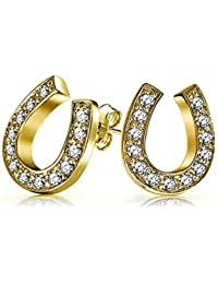 Bling Jewelry Lucky Horseshoe Pave CZ Stud earrings 925 Sterling Silver 13mm