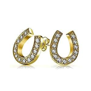 Bling Jewelry Placcato oro argento 925 Pave CZ Fortunato prigioniero a ferro di cavallo orecchini