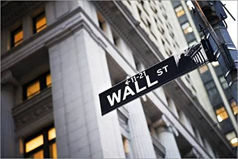Reproduction sur toile 60 x 40 cm: Wall Street street sign de xPACIFICA / National Geographic - Reproduction prête à accrocher, toile sur châssis, image sur toile véritable prête à accrocher, repro...